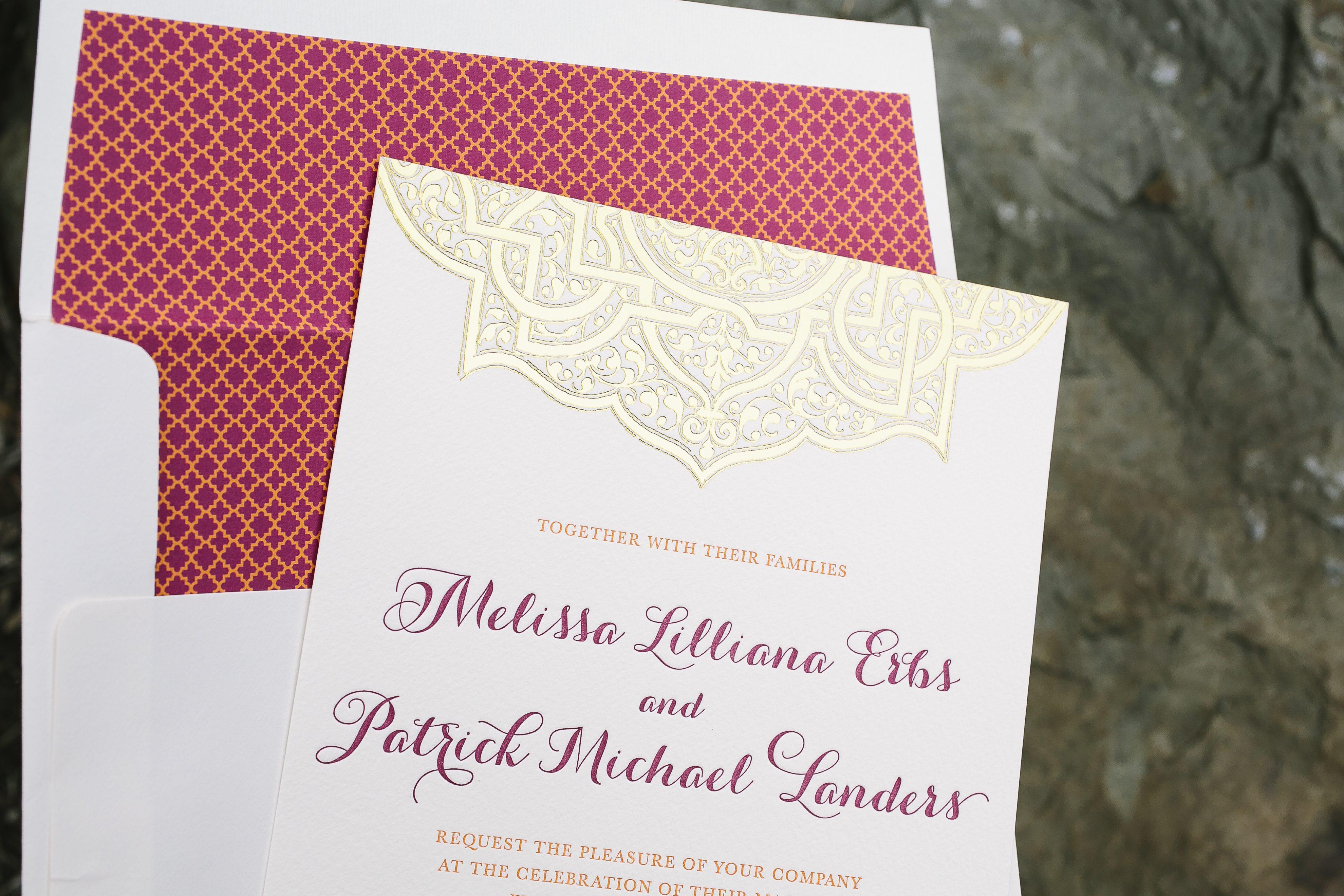Mumbai Scrolls wedding invitations in gold foil - Bella Figura