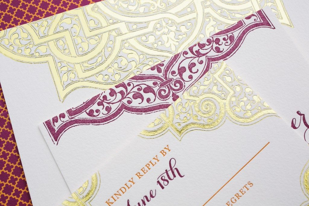 Mumbai Scrolls wedding invitations in gold foil | Bella Figura