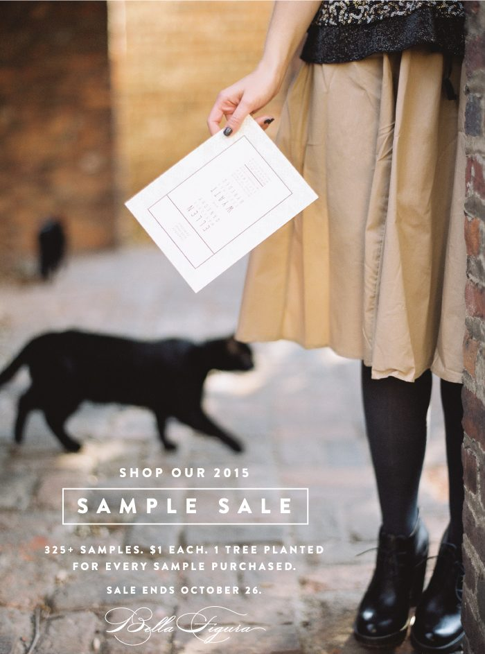 Bella Figura's 2015 Sample Sale is on! Over 325 Samples on sale for $1 each + 1 tree planted for every sample purchased
