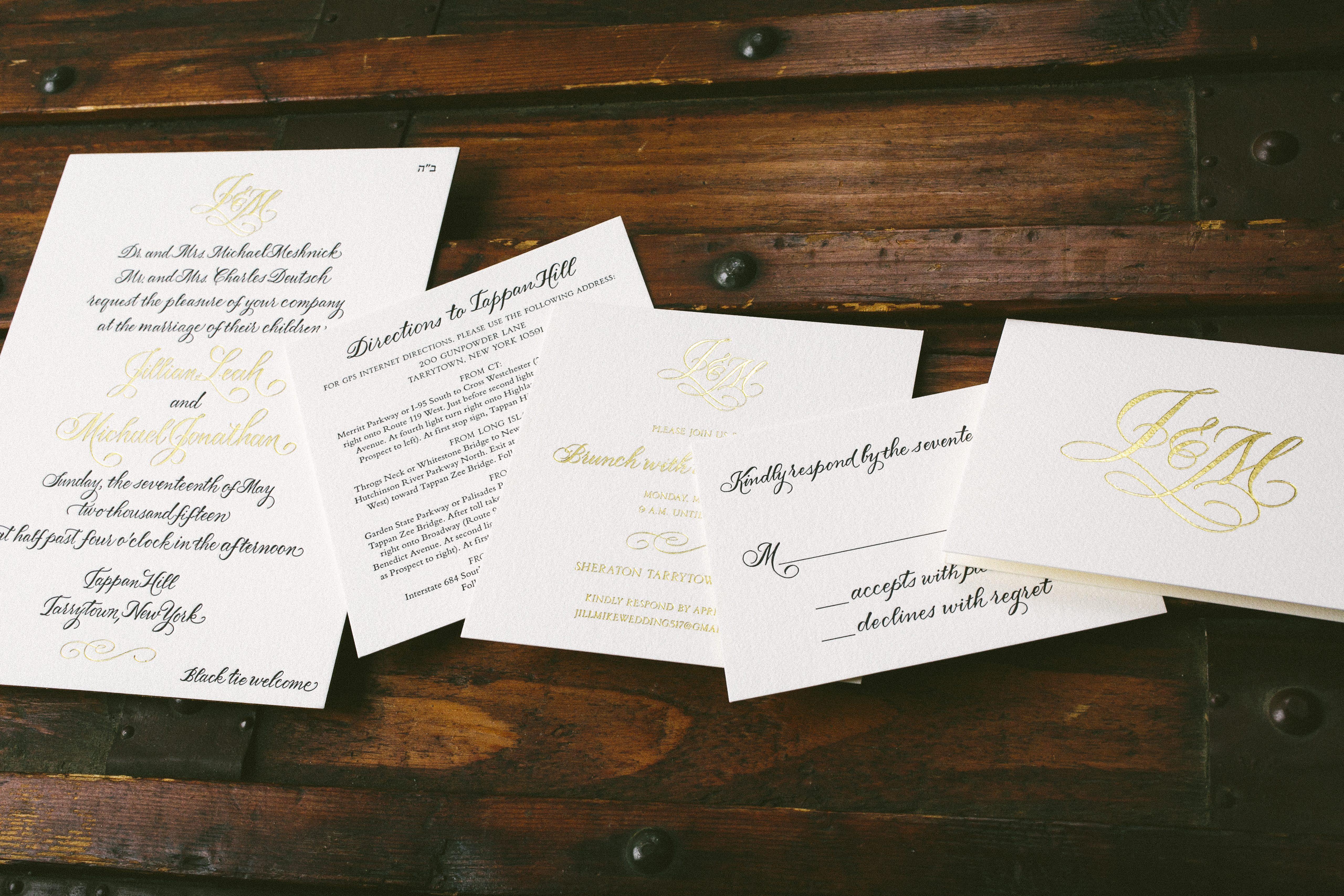 black + gold calligraphy wedding invitations - Bella Figura