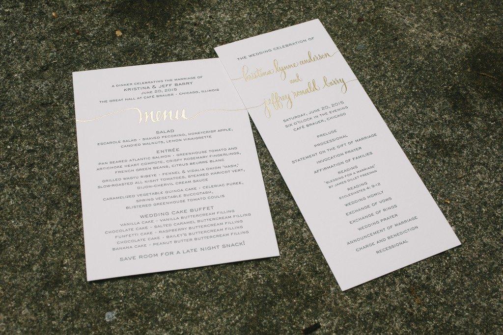 letterpress menus   Bella Figura