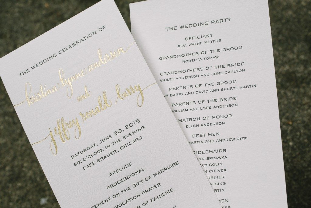 letterpress menus | Bella Figura
