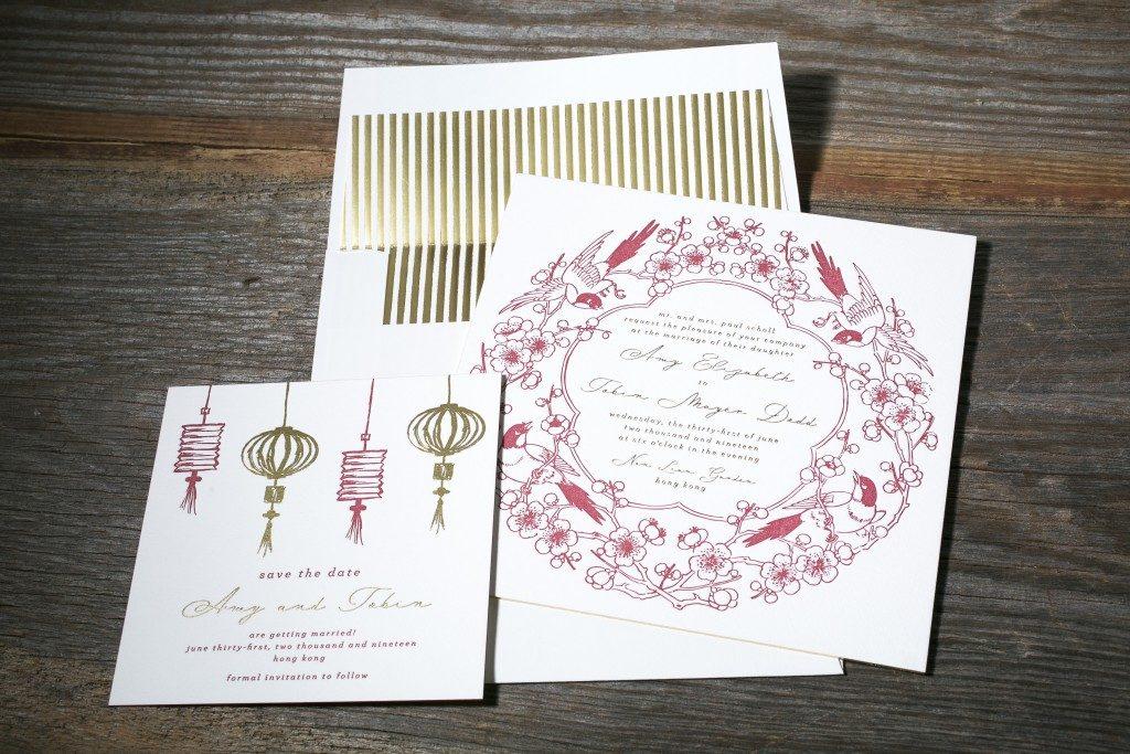 Cherry Blossom wedding invitations from Bella Figura