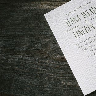 Heartwood letterpress wedding invitations by Andrea Streeter for Bella Figura