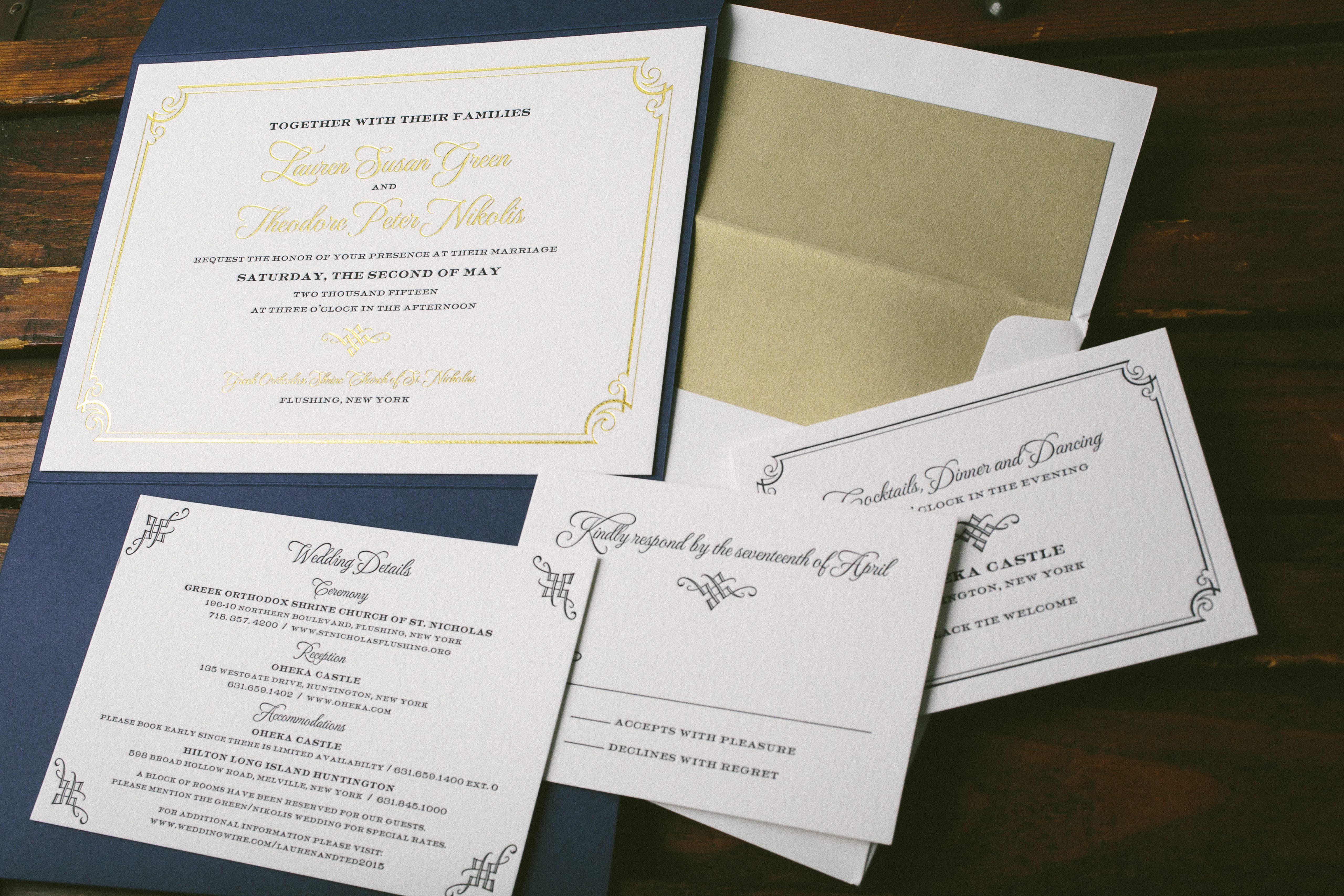 Formal frame wedding invitations for Oheka Castle wedding - Bella Figura