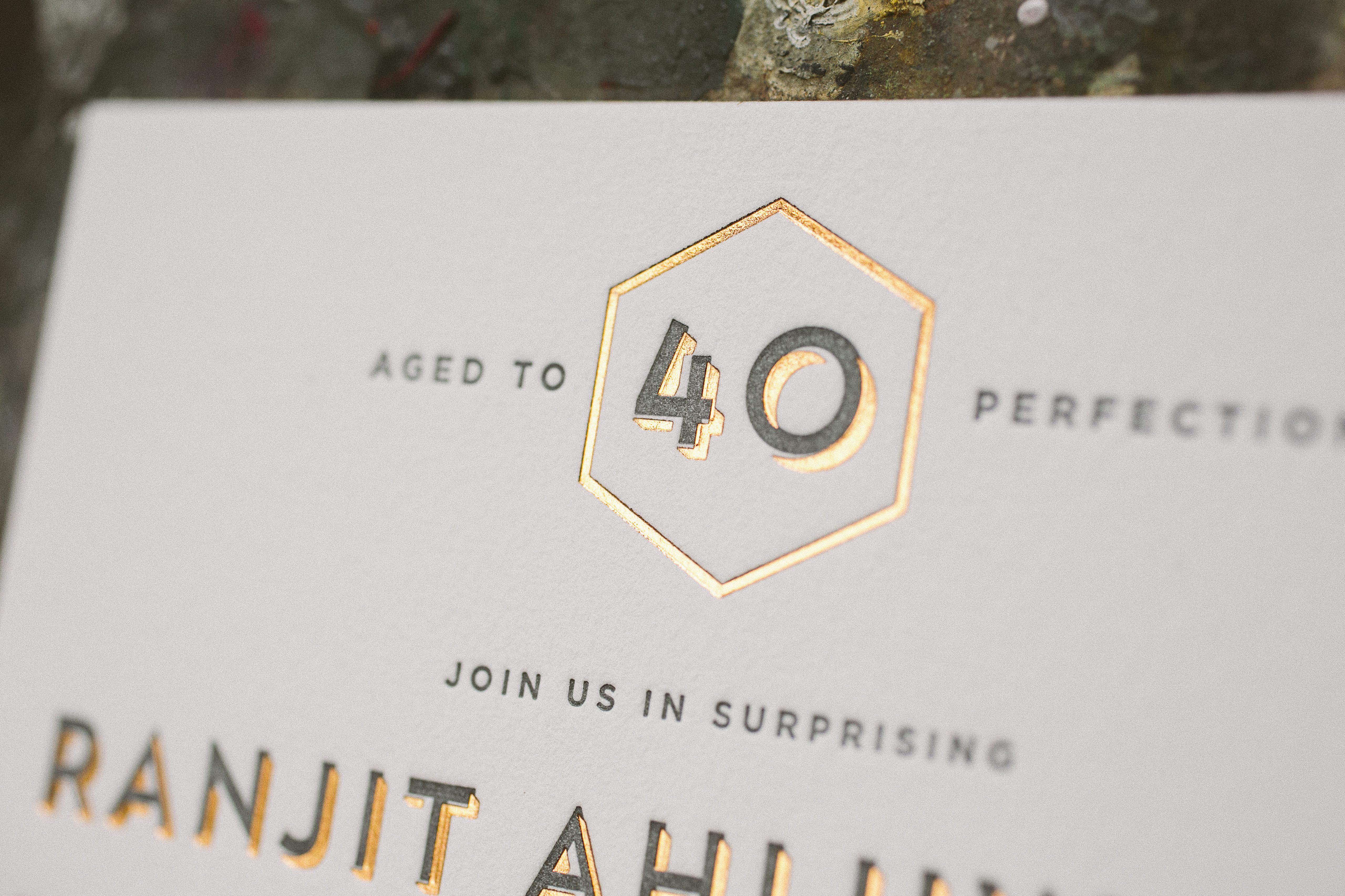 foil letterpress fortieth birthday invitations Bella Figura – Letterpress Party Invitations