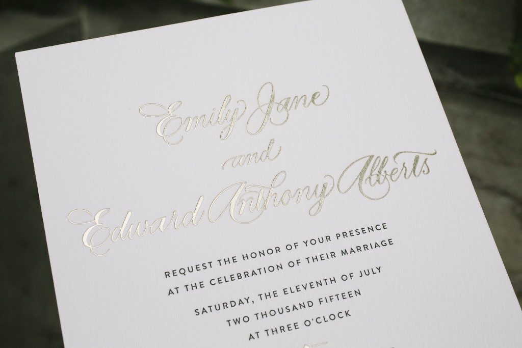 Letterpress and foil calligraphy wedding invitations | Bella Figura