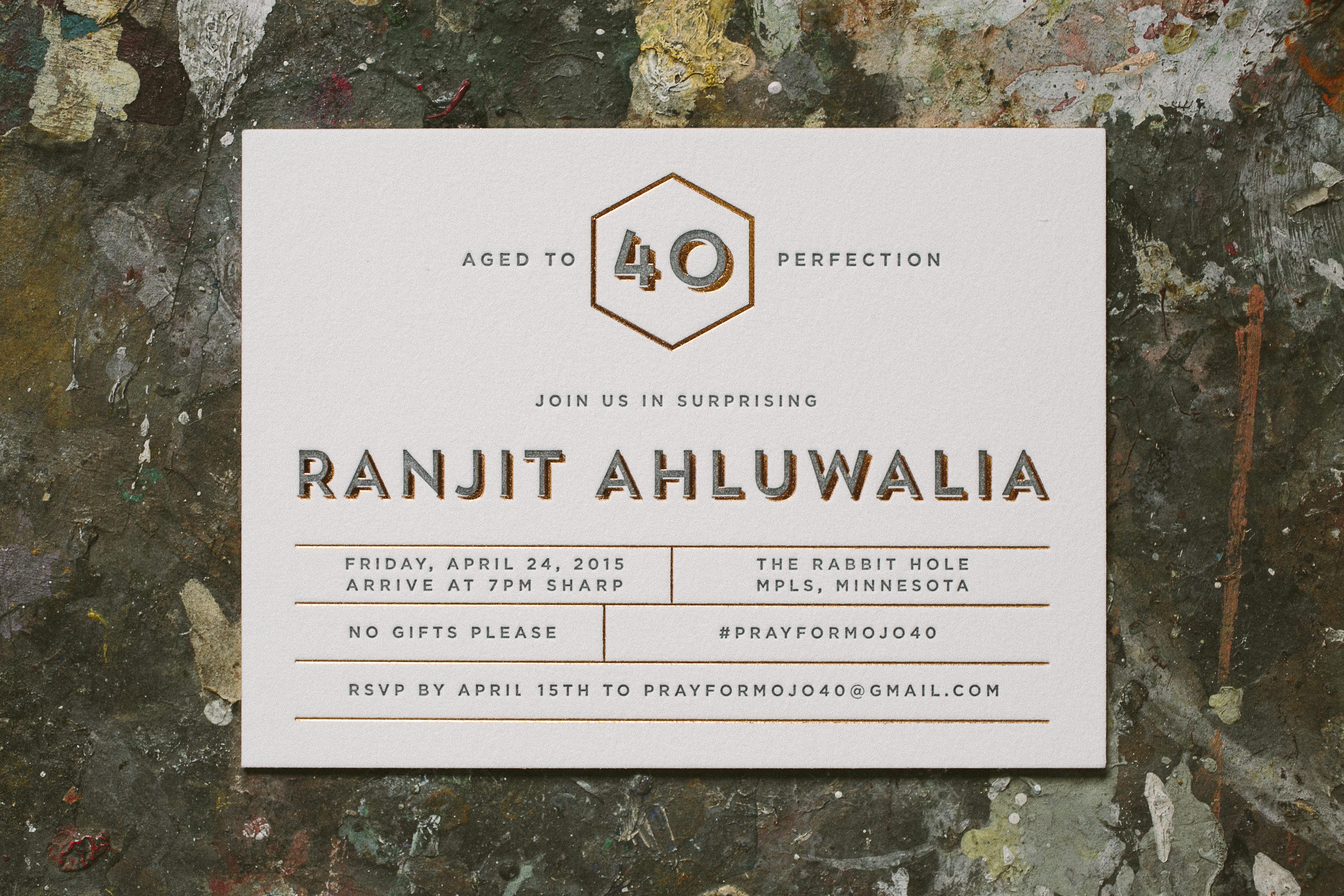 foil + letterpress fortieth birthday invitations - Bella Figura