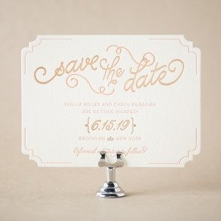 Abigail letterpress + foil save the dates from Bella Figura