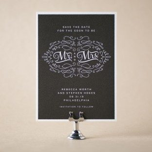 Chalkboard letterpress save the dates from Bella Figura