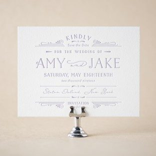 Gardenia letterpress save the dates from Bella Figura