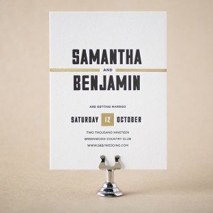 Hemsworth letterpress + foil stamped save the dates from Bella Figura