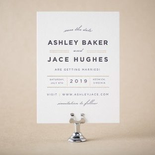 Wardell Modern foil + letterpress save the dates from Bella Figura