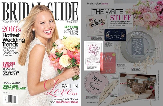 Bella Figura's Harvest design by Chelsea Petaja was featured in the January/February 2016 issue of Bridal Guide magazine