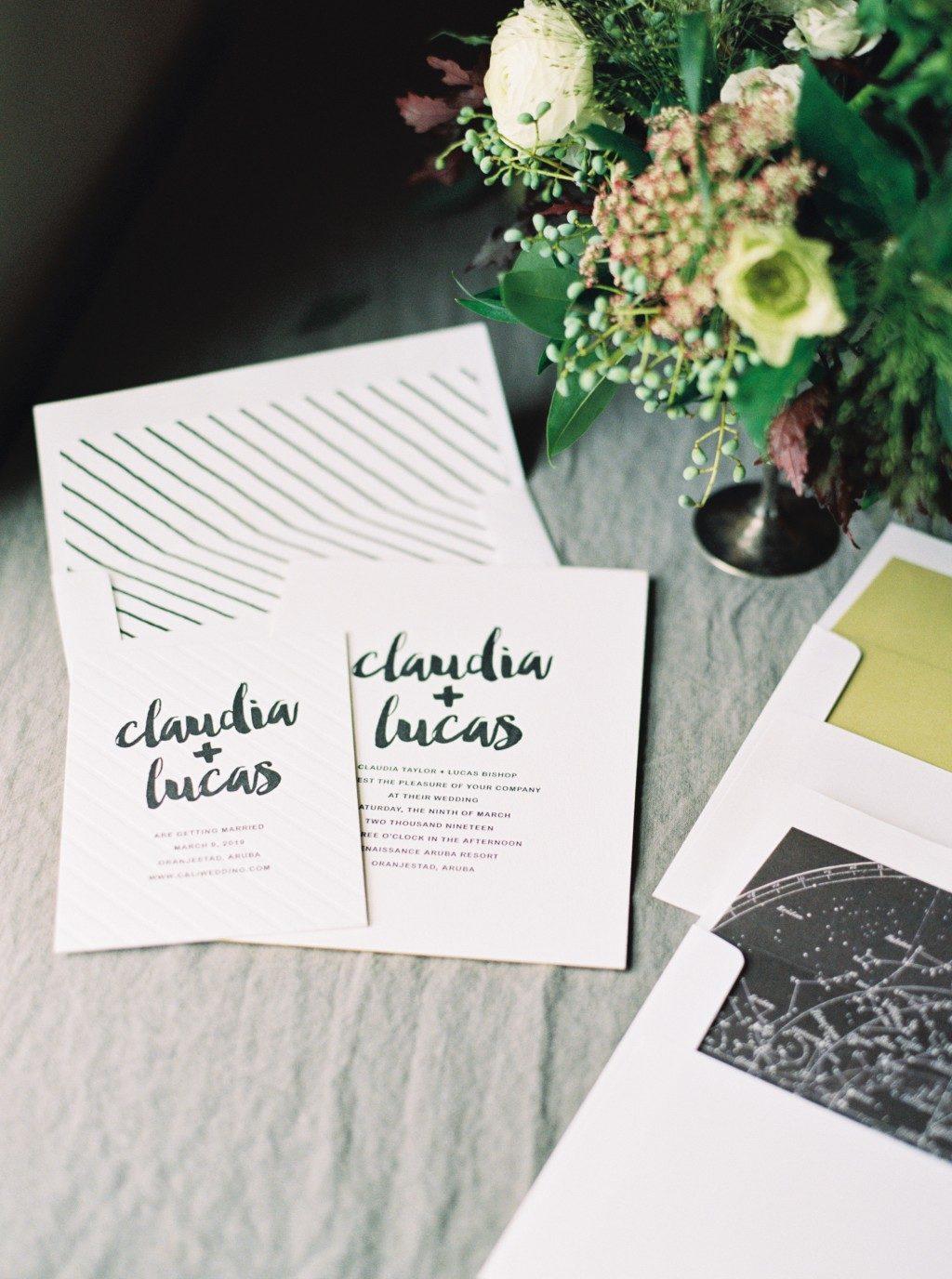 Splash letterpress wedding invitations by Lindsy Talarico