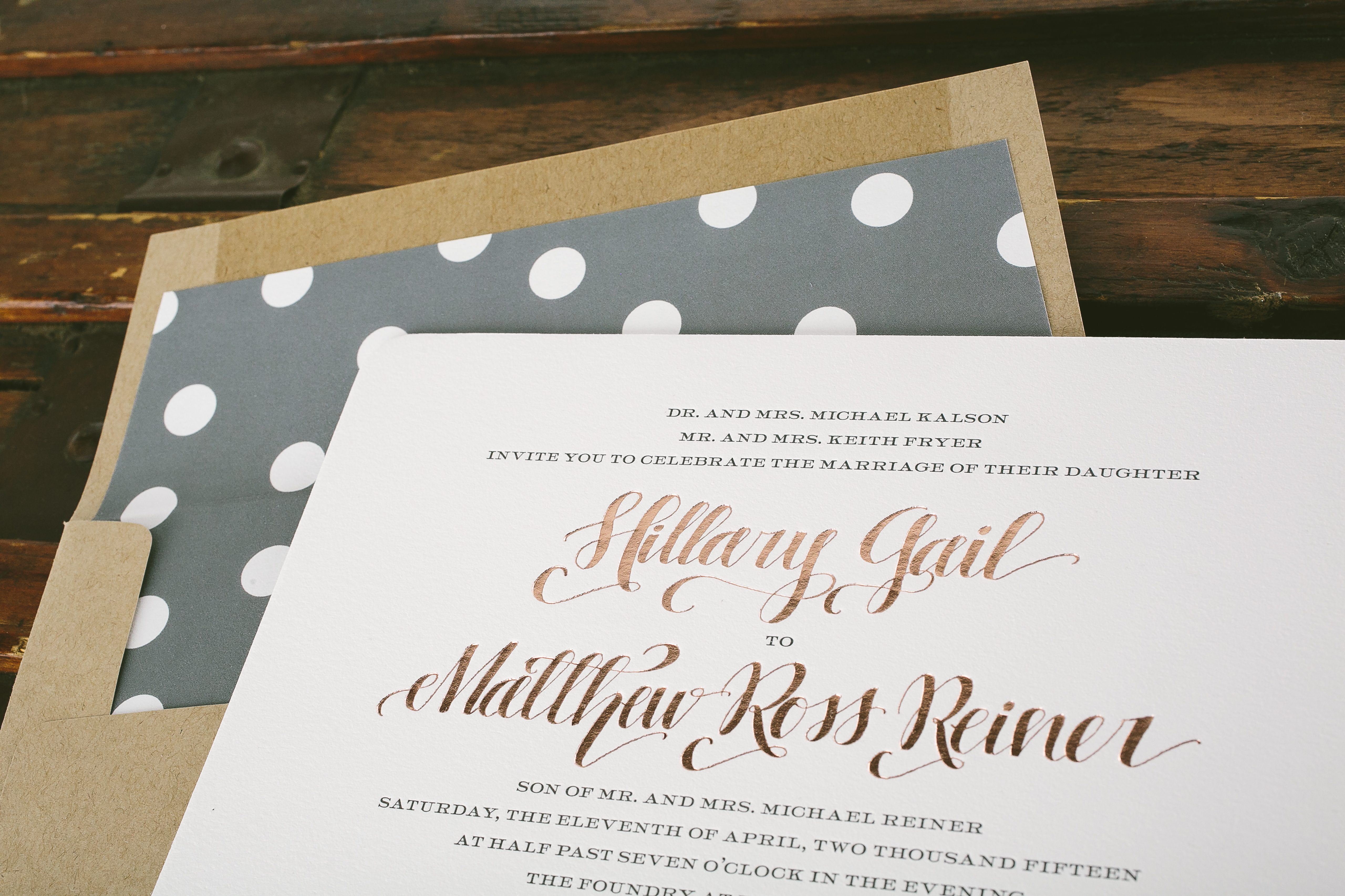Rose Gold And Gray Wedding Invitations