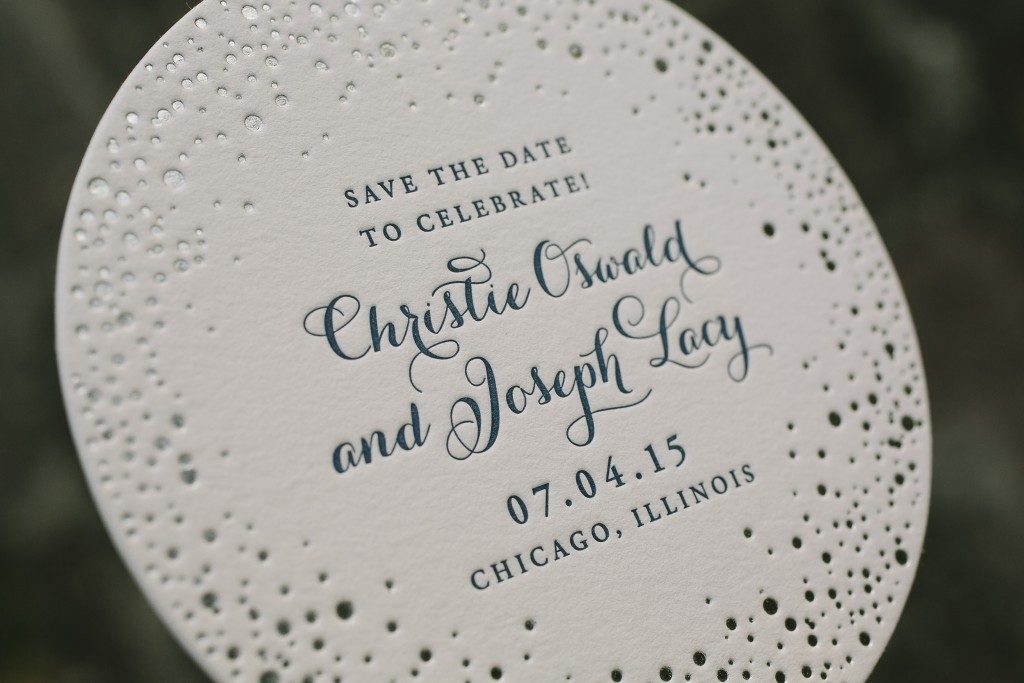 silver foil stamped circle save the dates from Bella Figura
