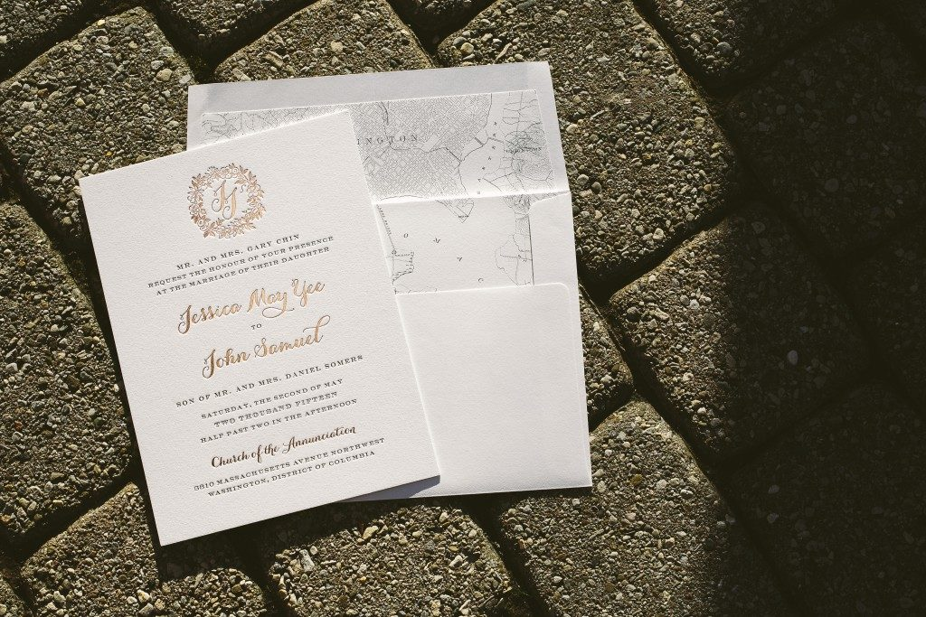 rose gold wedding invitations with floral wreath  | Bella Figura