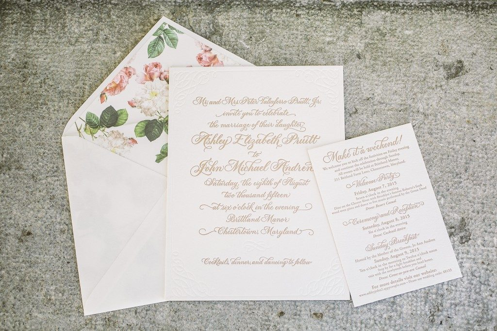 Romantic letterpress calligraphy wedding invitations | Bella Figura