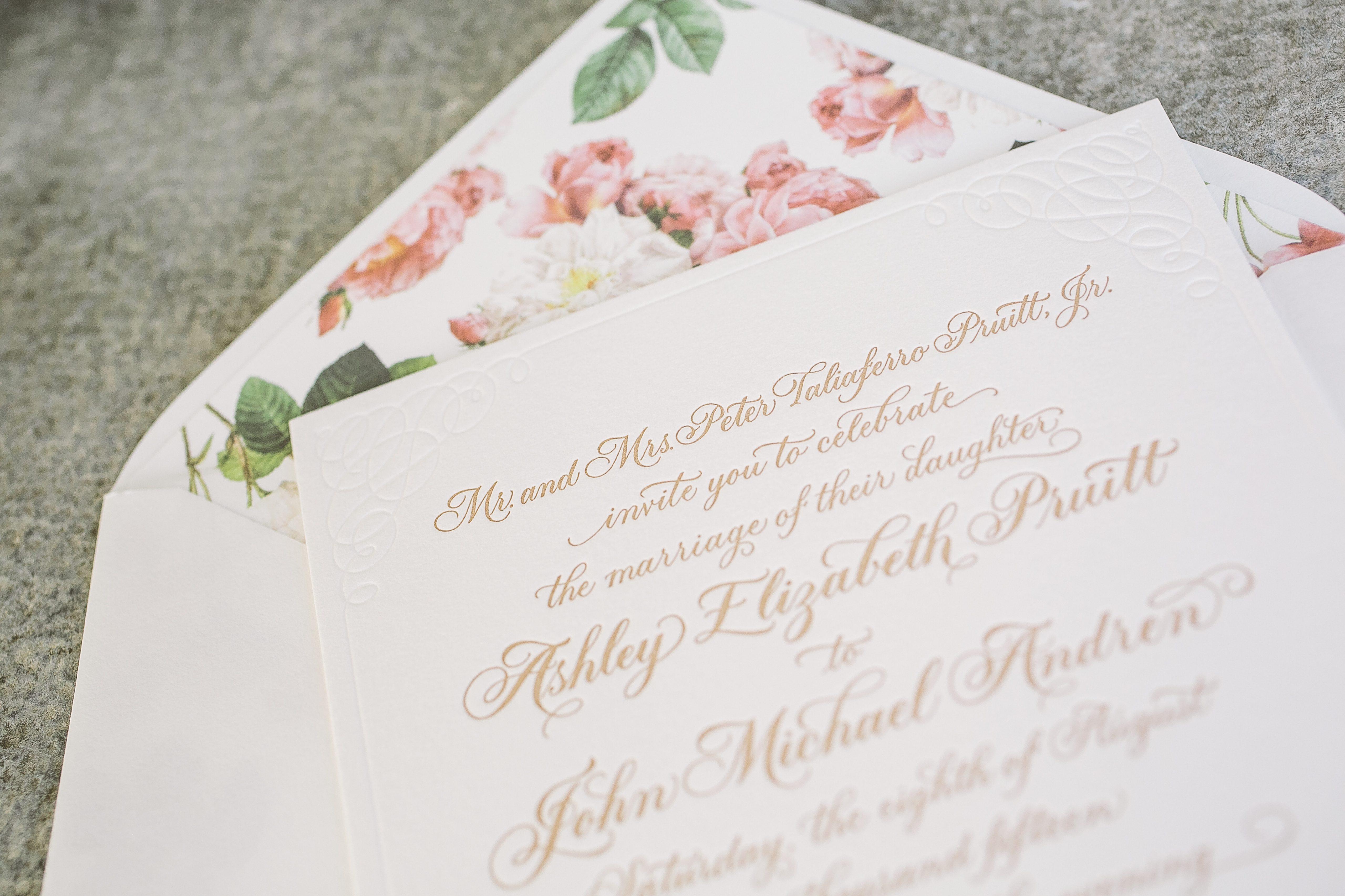 Romantic letterpress calligraphy wedding invitations - Bella Figura