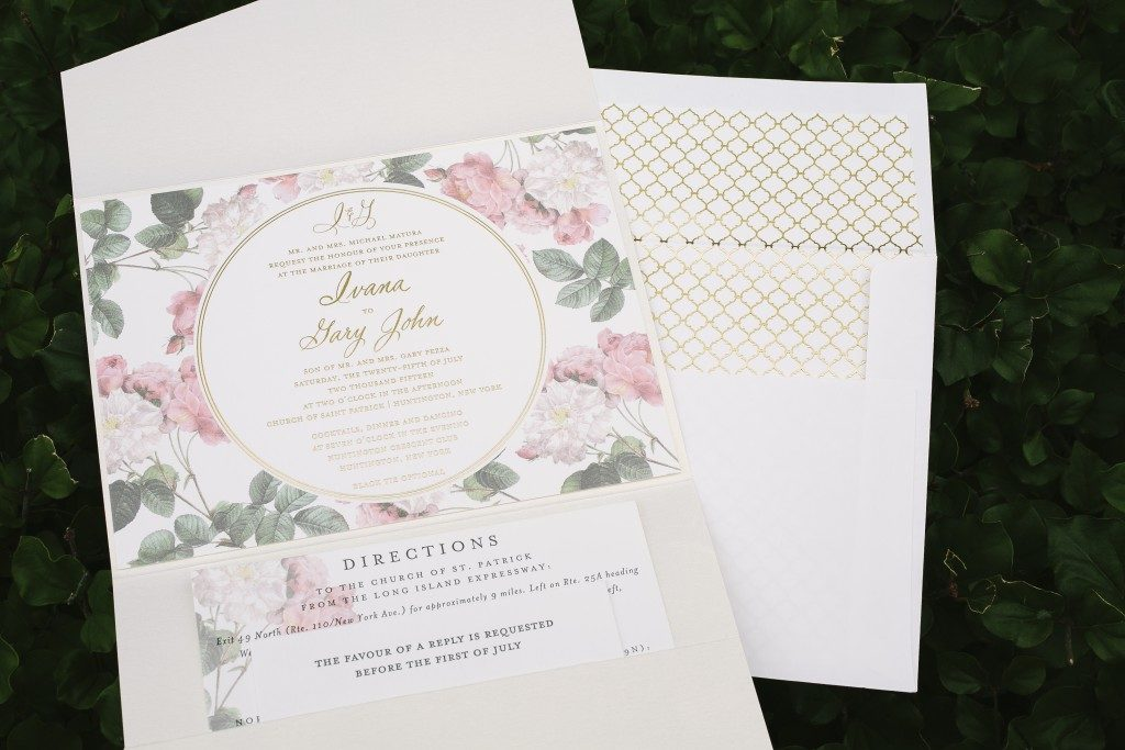 Romantic floral + foil garden wedding invitations - Bella Figura