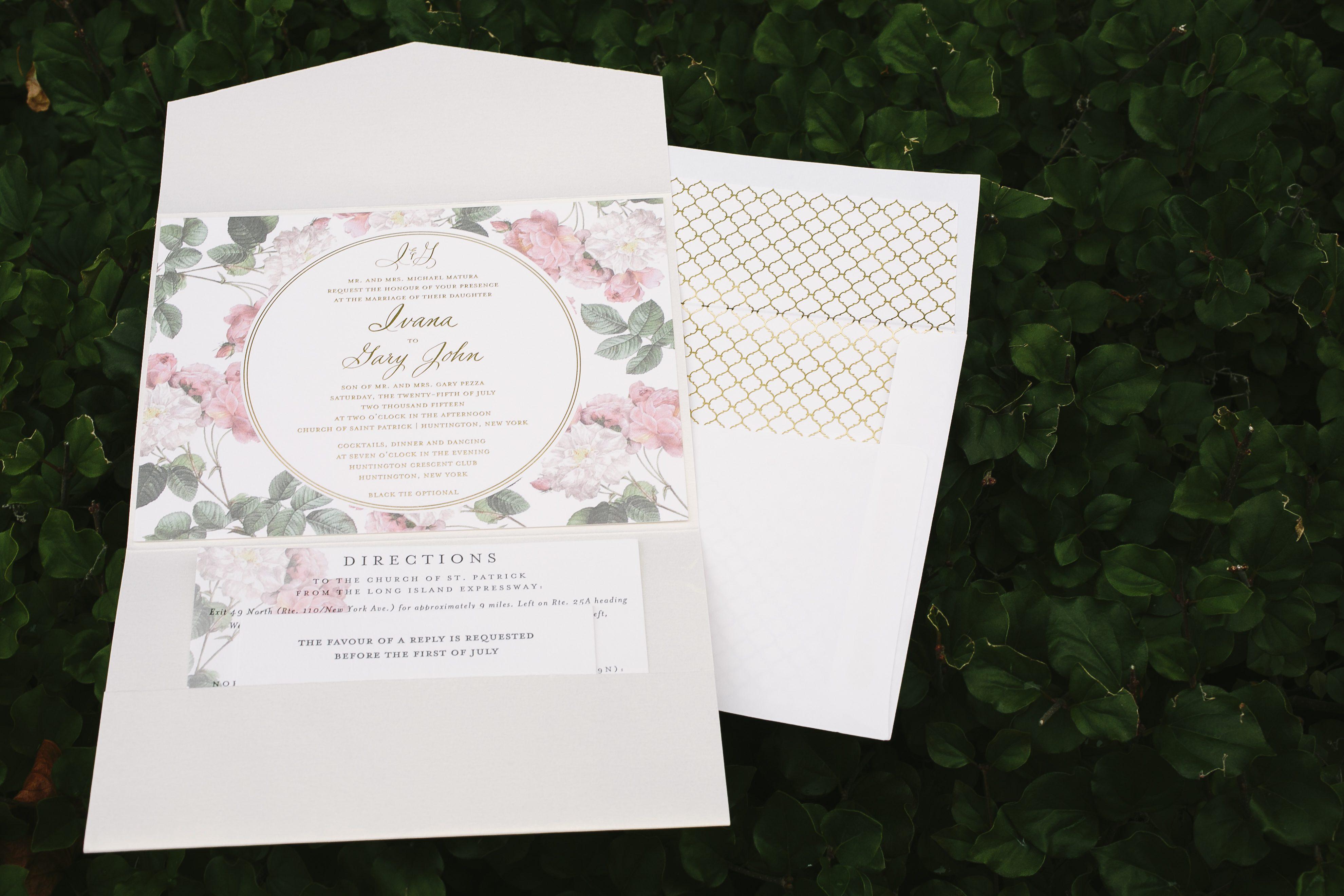 Romantic floral + foil garden wedding invitations - Bella Figura