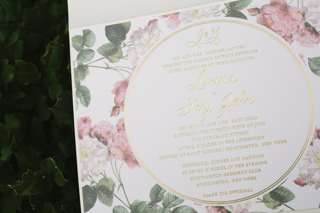 Romantic floral + foil garden wedding invitations | Bella Figura