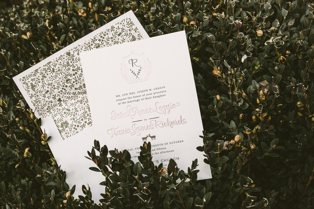rustic Woodland wedding invitations for Catskills wedding from Bella Figura