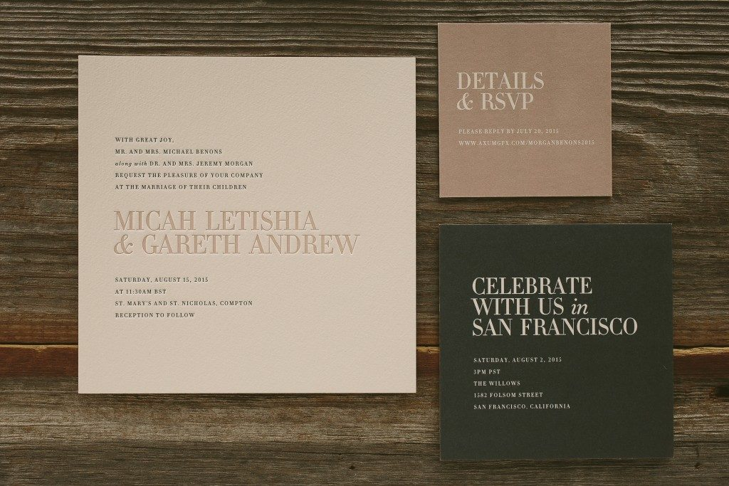 modern typography wedding invitations - Bella Figura