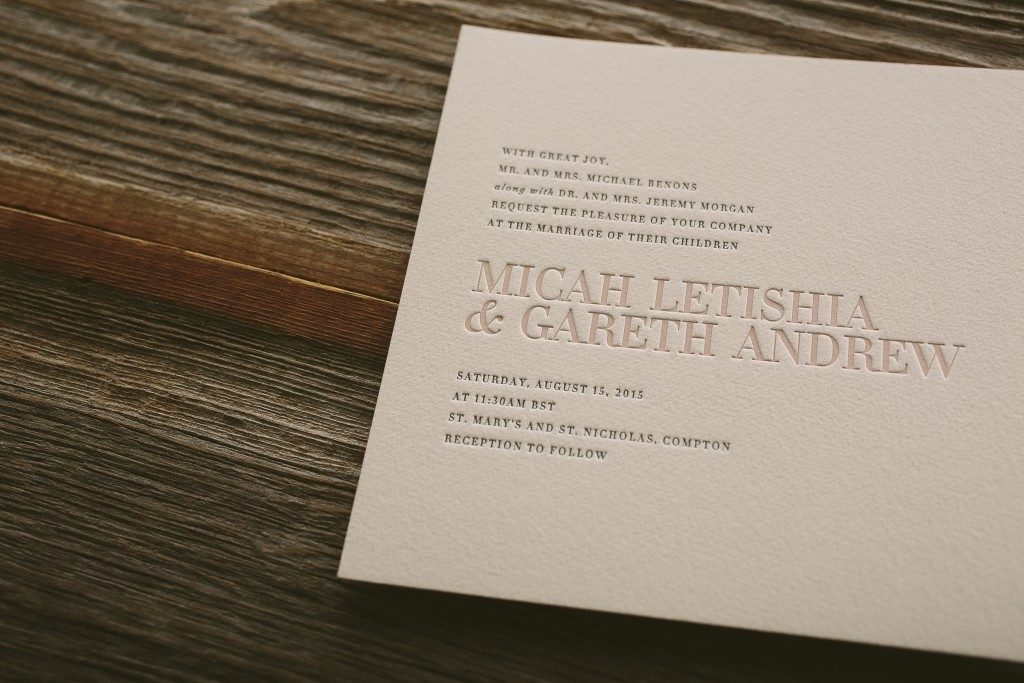 modern typography wedding invitations by Bella Figura
