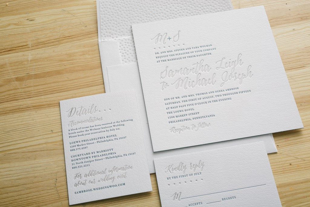 Gold Foil Stamped Wedding Invitations: Blue + Silver Foil Stamped Wedding Invitations