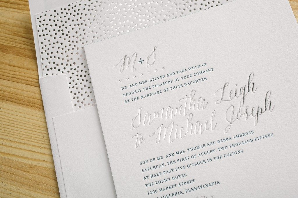 Silver foil stamped envelope liners + wedding invitations from Bella Figura