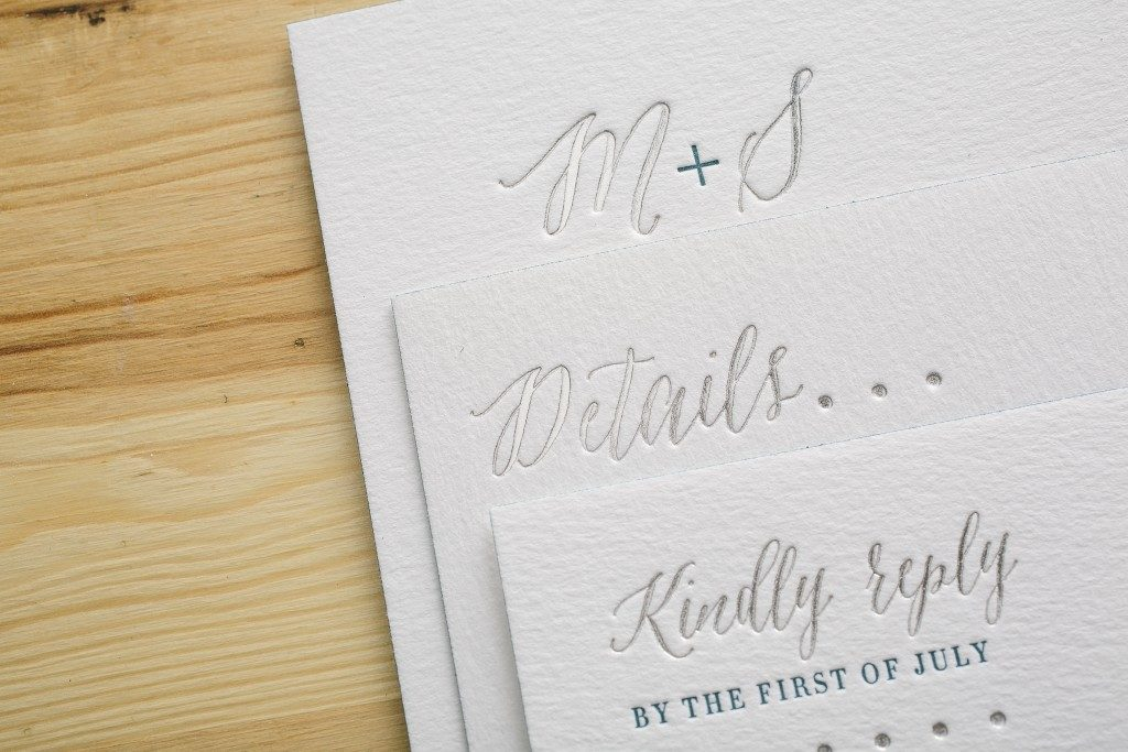 Silver foil + blue letterpress wedding invitations | Bella Figura