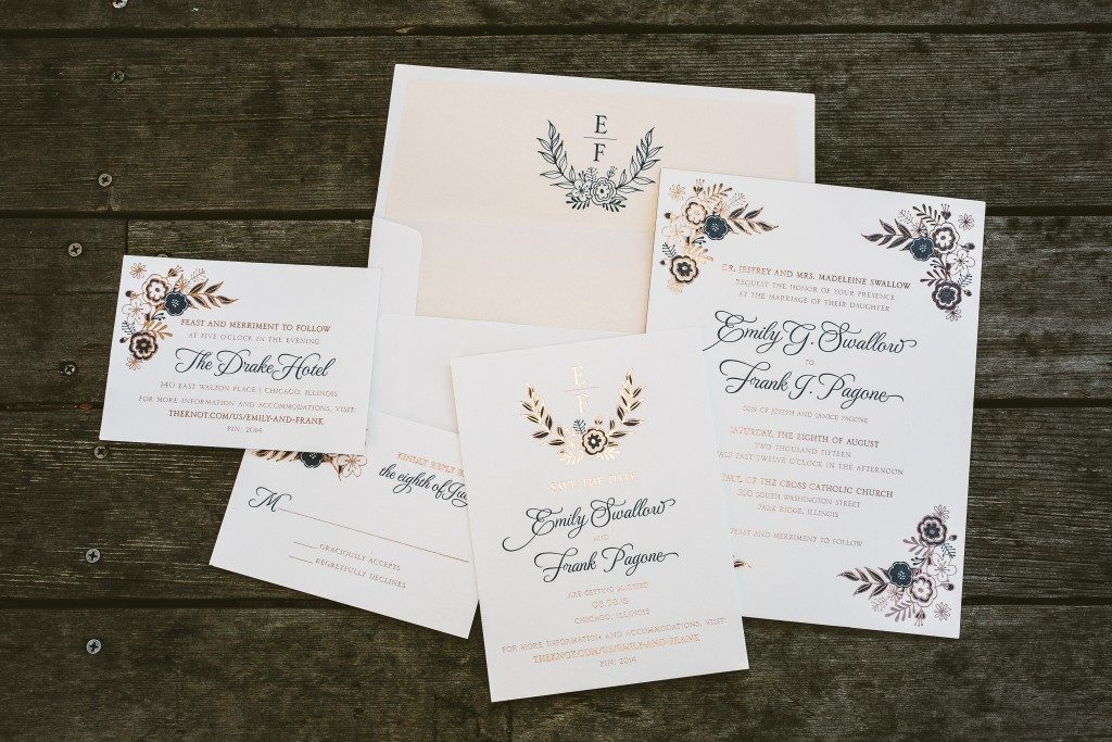 Folk Floral blue + rose gold wedding invitations | Bella Figura