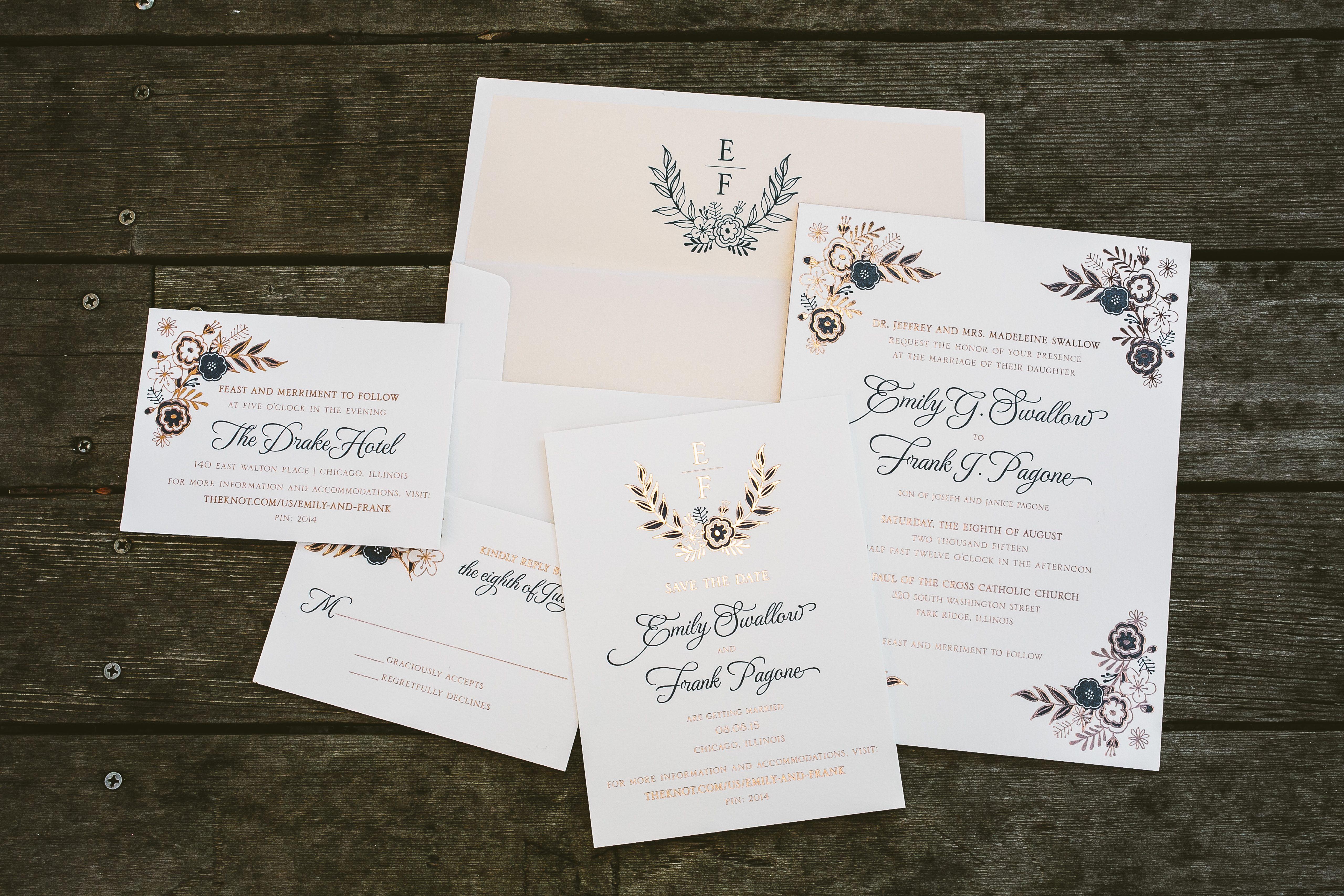 Folk Floral blue rose gold wedding invitations Bella Figura – Brown and Gold Wedding Invitations