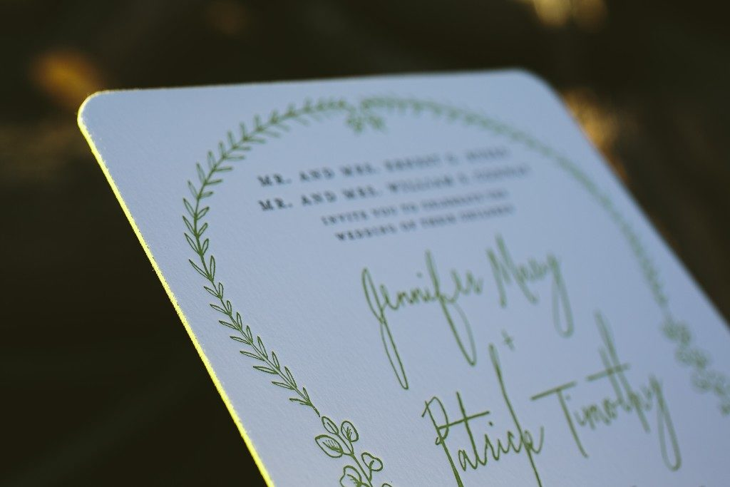 letterpress green wedding invitations | Bella Figura