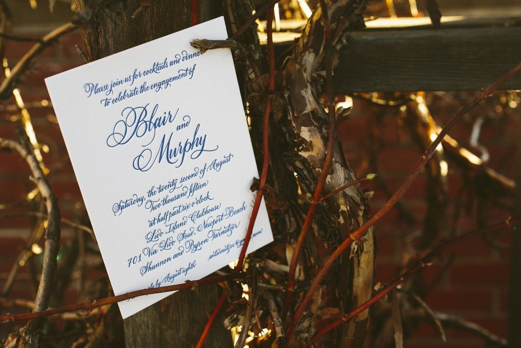 letterpress engagement party invitations | Bella Figura