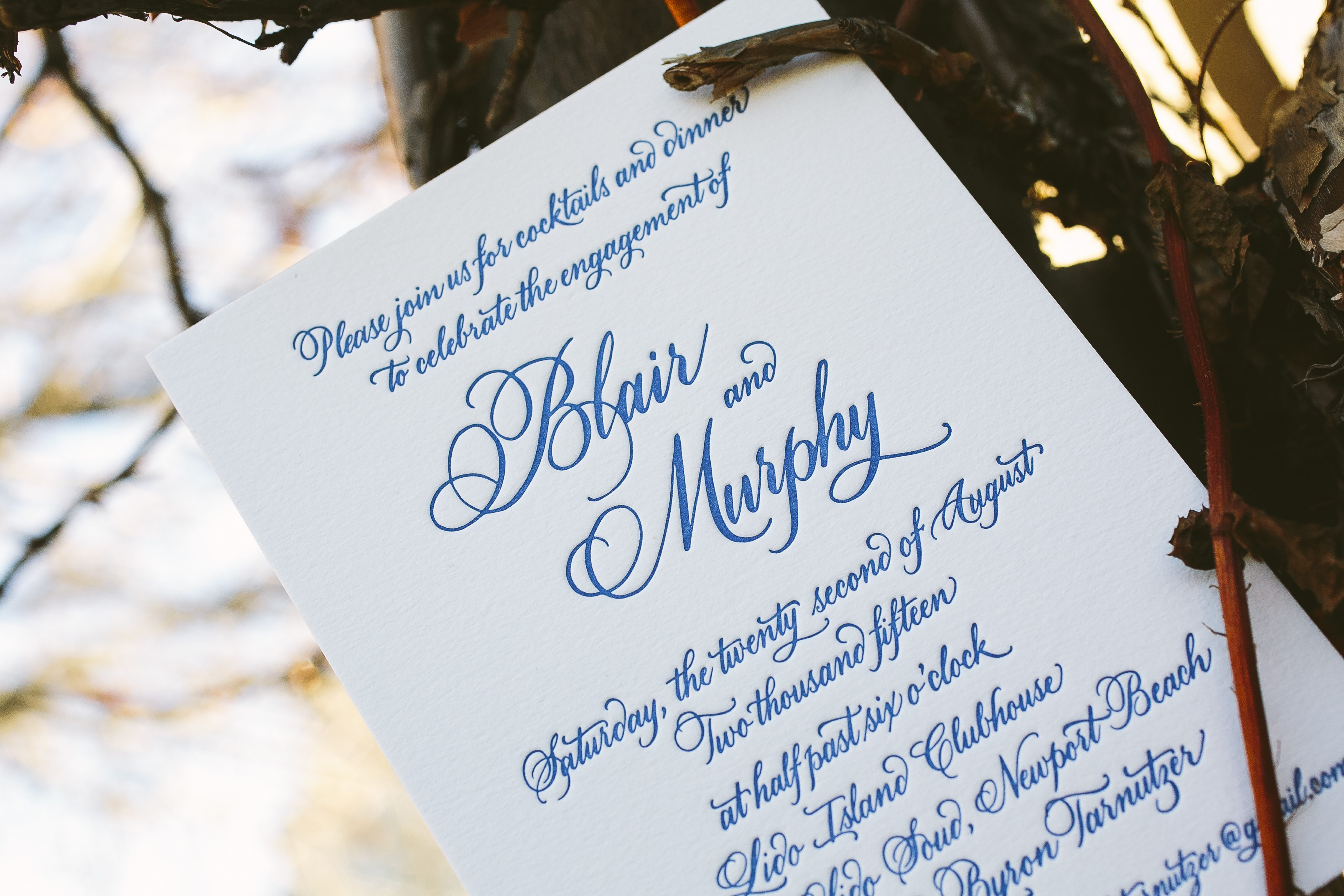 letterpress engagement party invitations featuring hand calligraphy ...