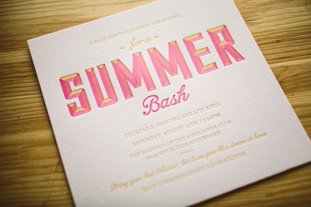 letterpress party invitations for summertime bash from Bella Figura