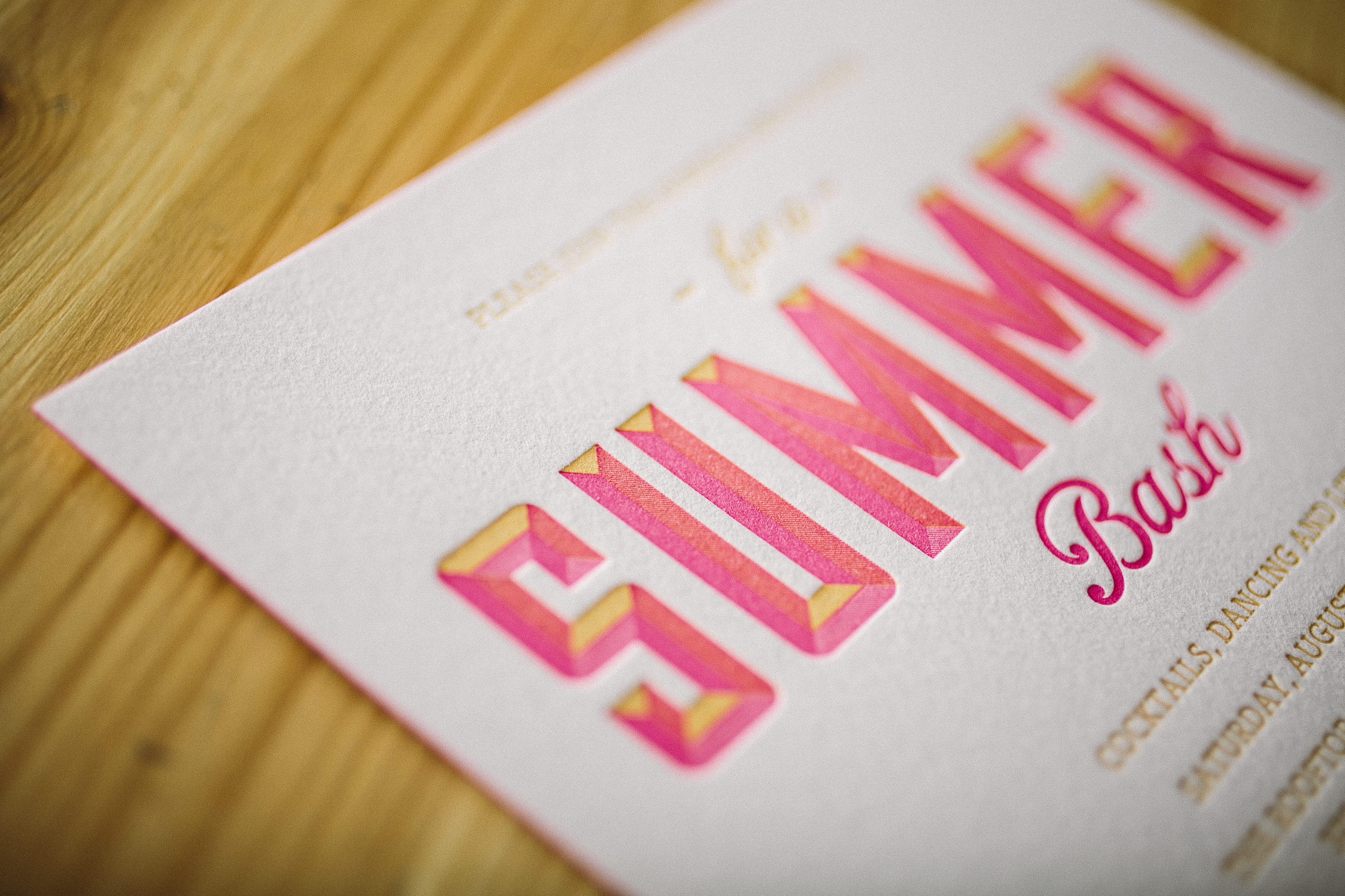 letterpress party invitations for summertime bash - Bella Figura