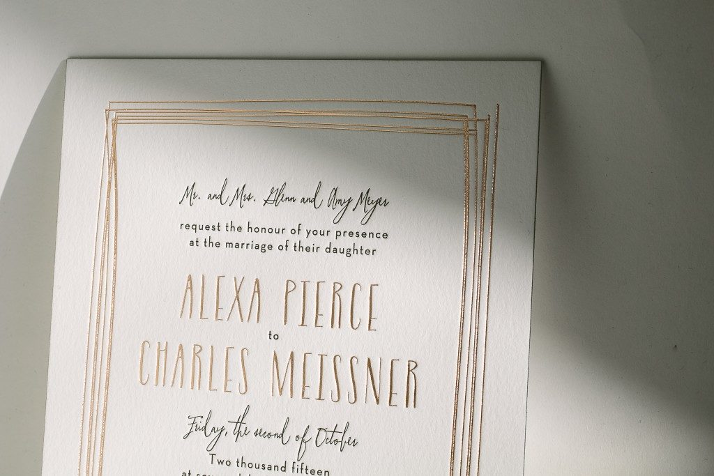 black and rose gold wedding invitations from Bella Figura