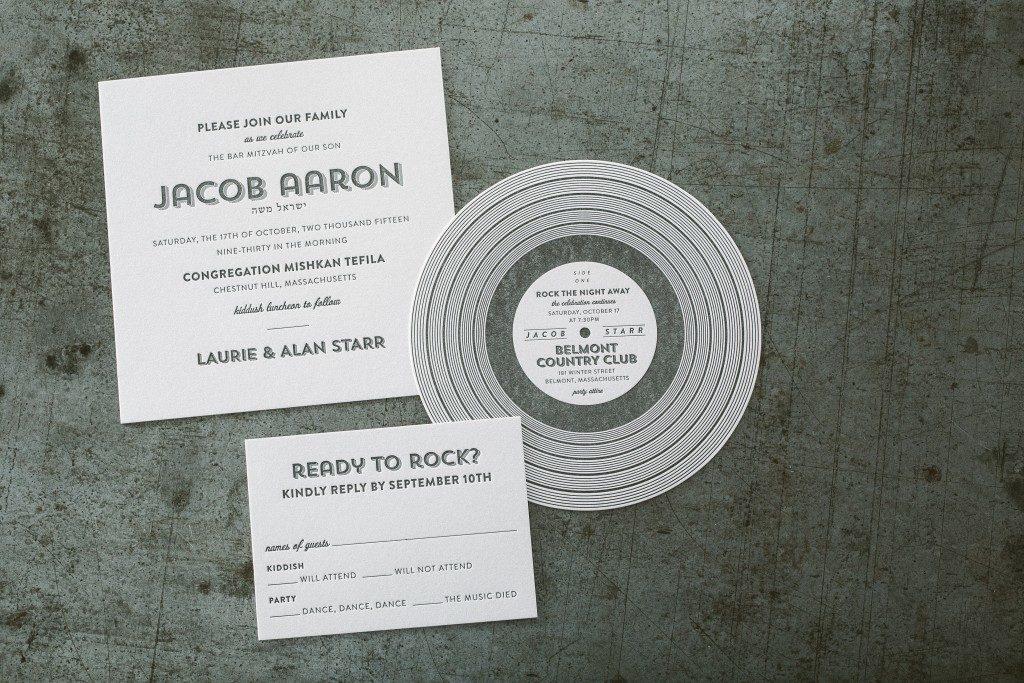 Custom rock and roll Bar Mitzvah invitations from Bella Figura