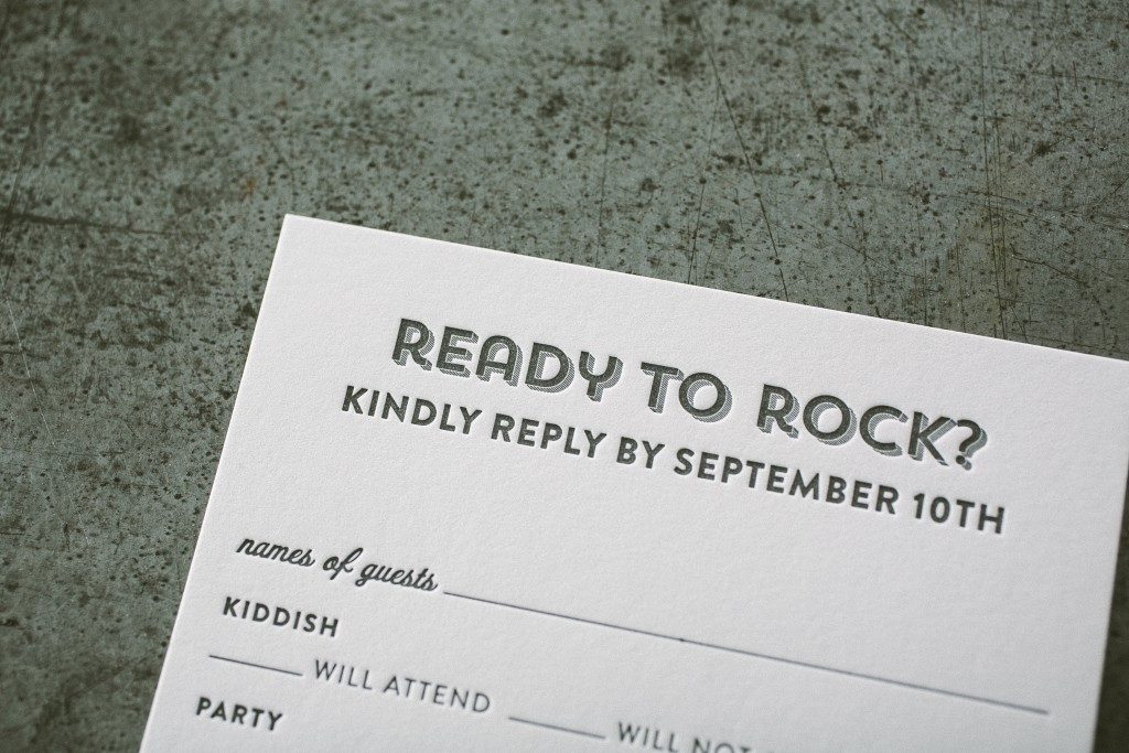 Custom rock and roll Bar Mitzvah invitations from Bella Figura