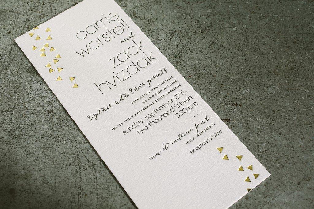 black and gold geometric wedding invitations from Bella Figura