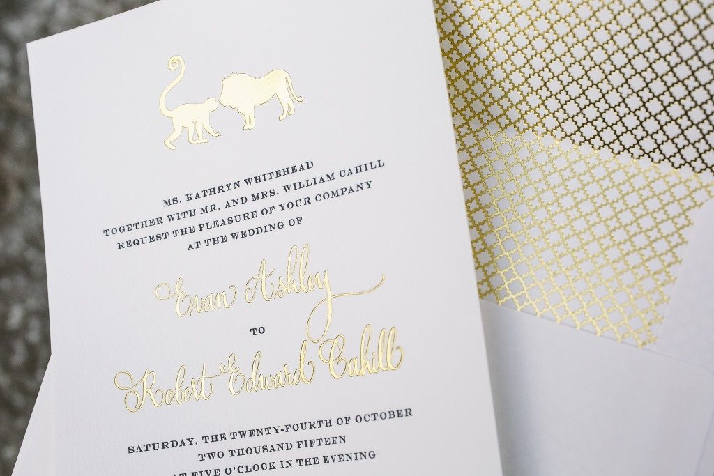 zoo animal wedding invitations in gold foil | Bella Figura