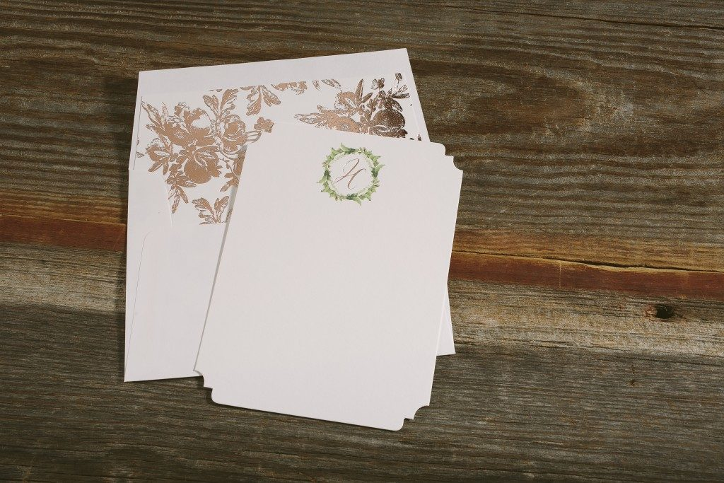 floral + rose gold personalized stationery from Bella Figura