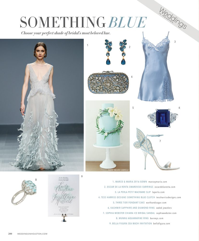 Sea Wash letterpress wedding invitations by Bella Figura featured in Weddings in Houston magazine