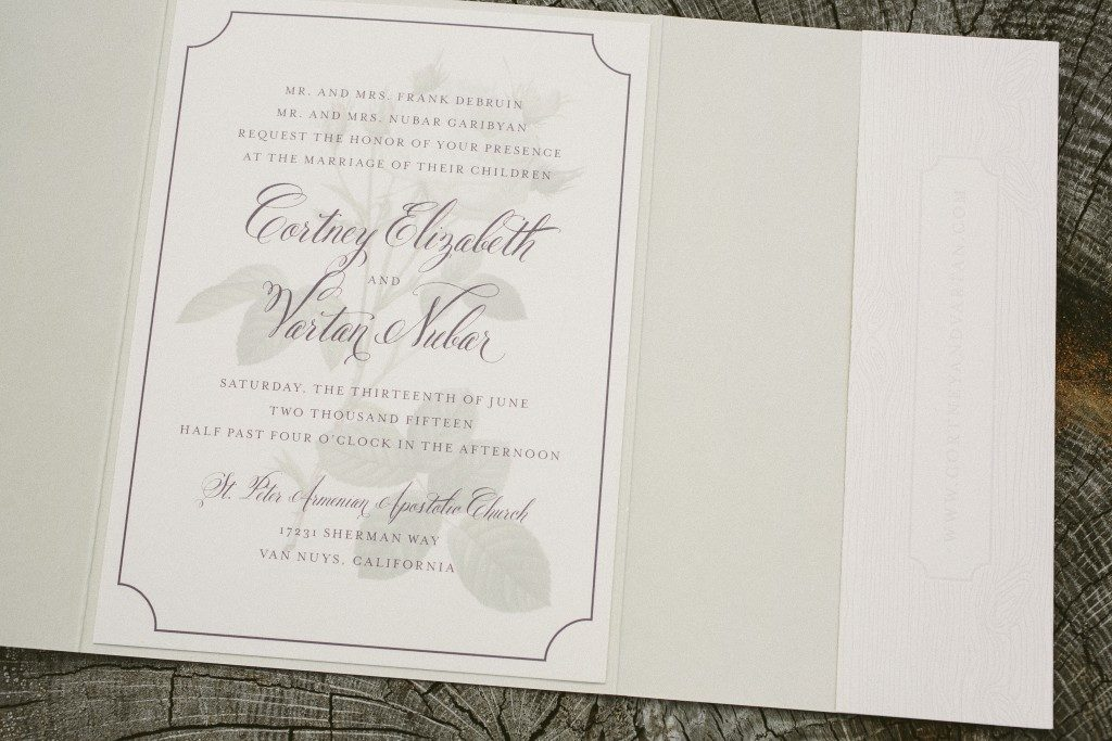 Vintage rose wedding invitations from Bella Figura
