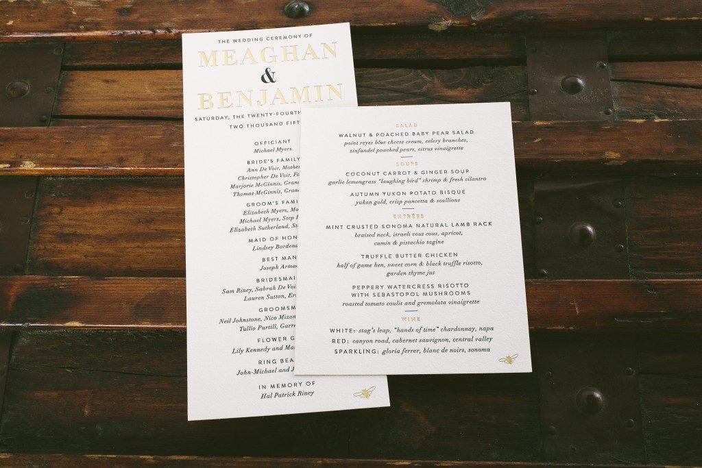 black and gold wedding invitations with bee accents | Bella Figura
