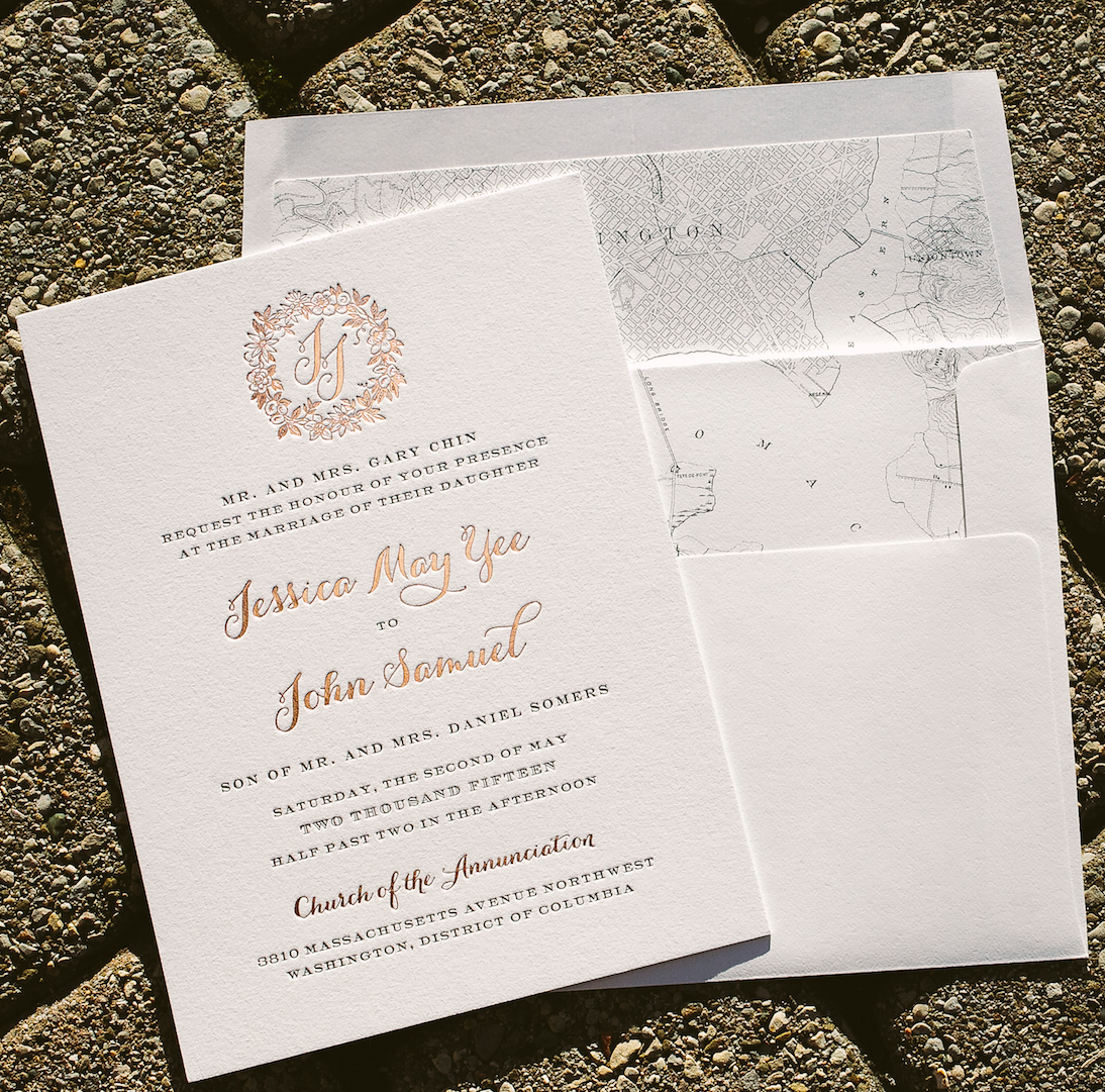 Wedding Invitations Rose: Rose Gold Wedding Invitations With Floral Wreath